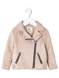 river-island-mini-girls-light-pink-faux-suede-biker-jacket