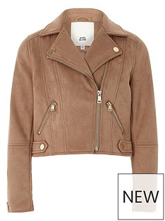 river-island-girls-light-brown-faux-suede-biker-jacket