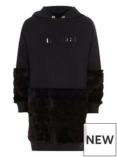 river-island-black-lsquobossrsquo-faux-fur-sweatshirt-dress