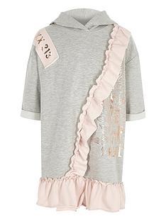 river-island-girls-grey-metallic-print-frill-hoodie-dress