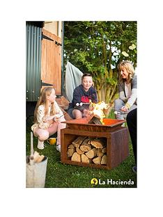 la-hacienda-ruga-oxidised-firepit-with-logstore