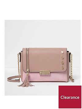 river-island-river-island-pink-stud-tassle-cross-body-bag