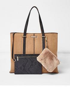 river-island-tan-faux-fur-pouch-tote-bag