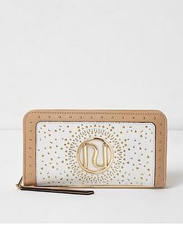 river-island-river-island-studded-laser-cut-zip-purse--cream