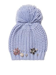 river-island-river-island-blue-embellished-knitted-pom-beanie