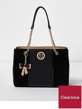 river-island-river-island-black-chain-handle-pearl-branded-tote-bag