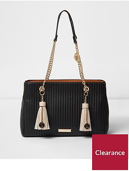 river-island-river-island-black-double-tassle-chain-tote-bag