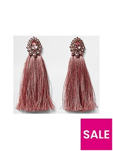 river-island-river-island-pink-jewel-tassel-drop-earrings