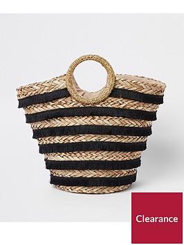 river-island-river-island-black-biege-woven-top-handle-beach-bag-black