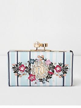 river-island-floral-stripe-slim-purse-blue