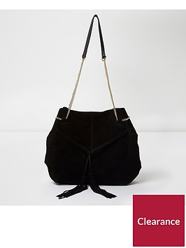 river-island-suede-tassel-front-slouch-chain-bag-black