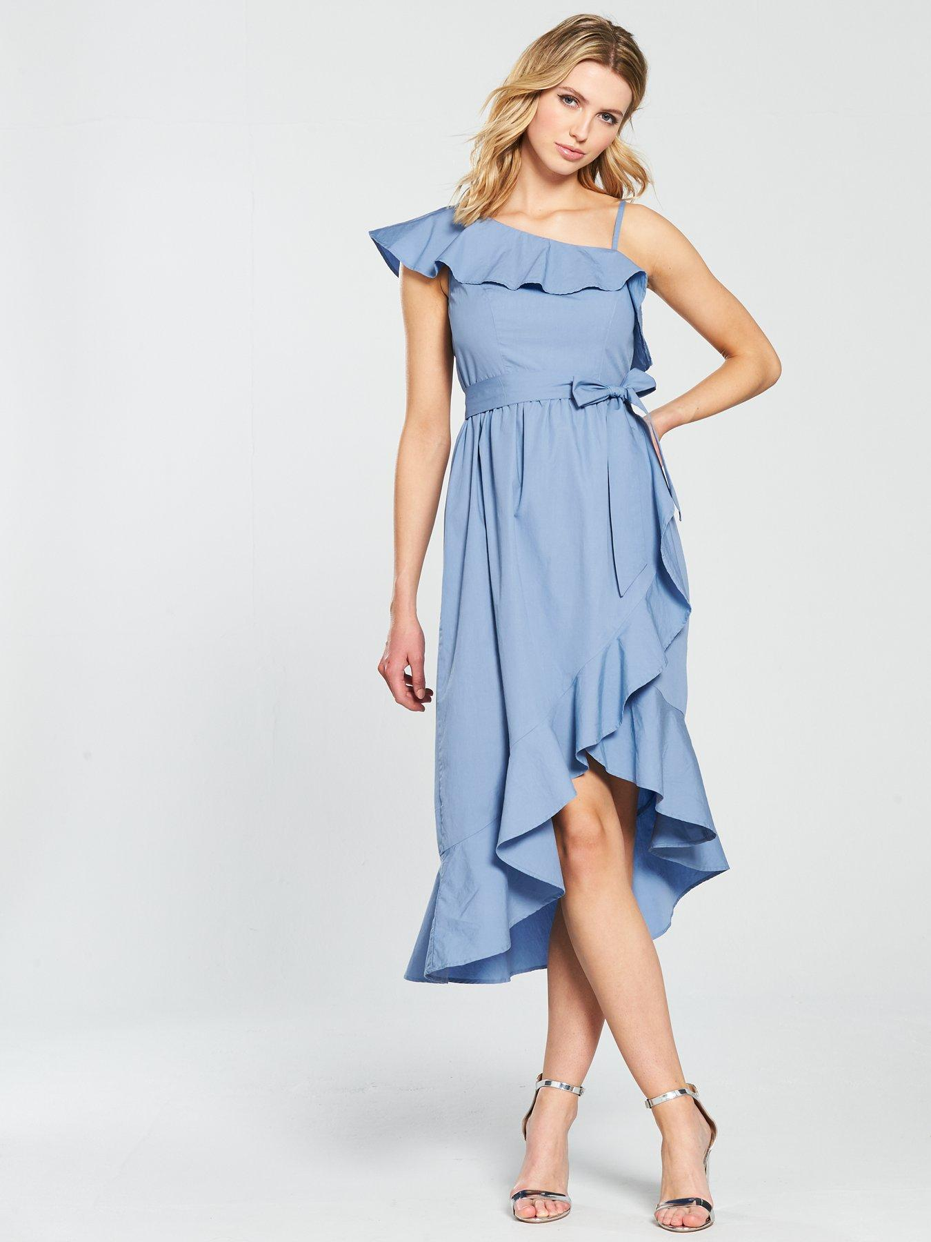 V by Very One Shoulder Cotton Wrap Ruffle Dress - Blue