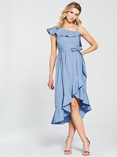 v-by-very-one-shoulder-cotton-wrap-ruffle-dress-blue