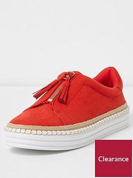 river-island-zip-tassel-espadrille-trim-plimsolls-red