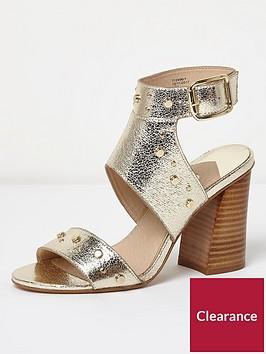 river-island-wide-fit-stud-sandal-gold