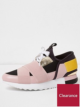 river-island-elastic-lace-up-trainer-pink