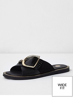 river-island-wide-fit-buckle-strap-mule-sandal-black