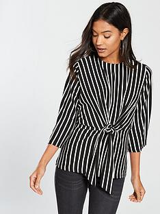 v-by-very-jersey-stripe-knot-front-top