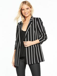 miss-selfridge-ruched-sleeve-blazer