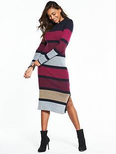 vila-solda-long-sleeve-knit-stripe-dress