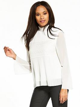 Vila Vaja Long Sleeve Top - White