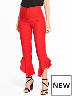 miss-selfridge-angled-ruffle-hem-trouser-red