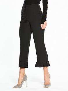 miss-selfridge-woven-frill-hem-trouser-black