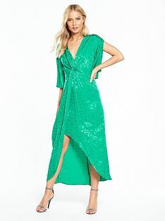 miss-selfridge-jacquard-midi-dress-green