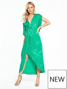 miss-selfridge-jacquard-midi-dress-green