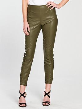 Vila Faux Leather Leggings - Pale Green