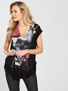 religion-tranquil-frill-hem-printed-t-shirt-black