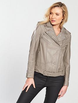 Religion Excellent Leather Embellished Biker Jacket - Flint