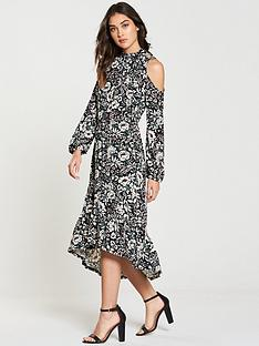 v-by-very-tie-neck-printed-midi-jersey-dress