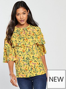 v-by-very-tiered-detail-printed-top