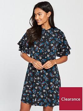 v-by-very-frill-neck-printed-jersey-dress