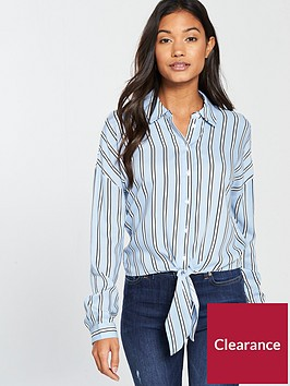 miss-selfridge-stripe-tie-front-shirt