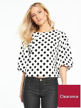 miss-selfridge-polka-dot-puff-sleeve-top-blackwhite