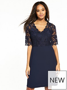 wallis-lace-top-fit-and-flare-dress