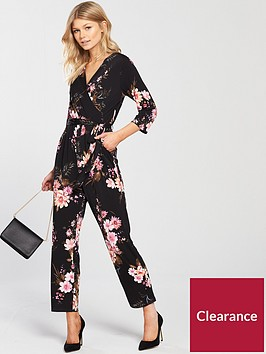 wallis-petite-floral-tie-sleeve-jumpsuit