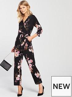 wallis-wallis-petite-floral-tie-sleeve-jumpsuit