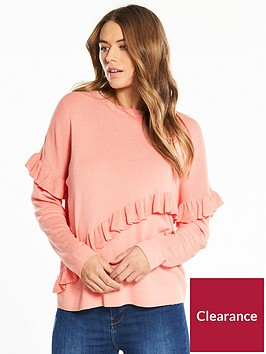 wallis-crepe-ruffle-front-top-peach