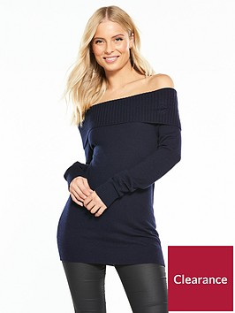 wallis-bardot-knitted-jumper-navy