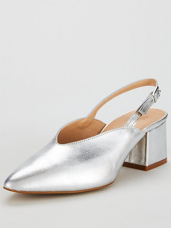 a080429bed7ae Leroux Leather Slingback Court - Silver