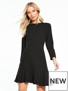warehouse-long-sleeve-peplum-hem-dress-black
