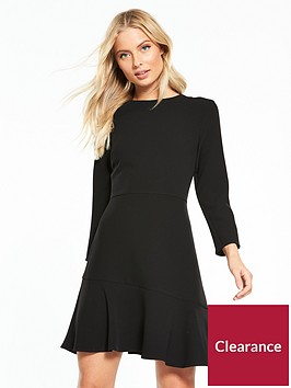 warehouse-long-sleeve-peplum-hem-dress-black