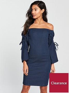 v-by-very-denim-bardot-sleeve-detail-pencil-dress