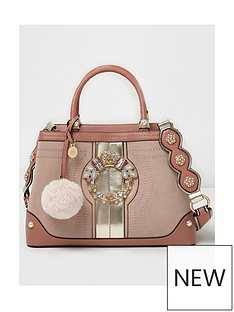 river-island-river-island-jewel-front-panel-tote--pink