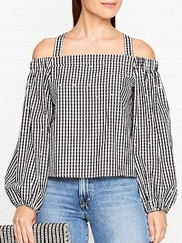 guess-goldie-gingham-off-shoulder-top-blackwhite