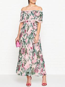 guess-vanessa-fleur-de-lis-print-off-shoulder-dress-multicolour