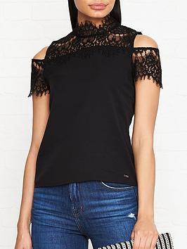 guess-evelyn-cold-shoulder-lace-detail-t-shirt-black